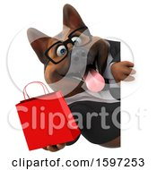 Clipart Of A 3d Business German Shepherd Dog Holding A Gift Bag On A White Background Royalty Free Illustration by Julos