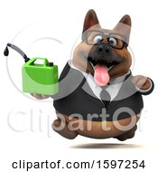 Clipart Of A 3d Business German Shepherd Dog Holding A Gas Can On A White Background Royalty Free Illustration by Julos