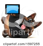 Clipart Of A 3d Business German Shepherd Dog Holding A Tablet On A White Background Royalty Free Illustration by Julos