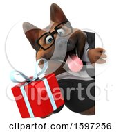 Clipart Of A 3d Business German Shepherd Dog Holding A Gift On A White Background Royalty Free Illustration by Julos