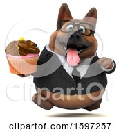 Clipart Of A 3d Business German Shepherd Dog Holding A Cupcake On A White Background Royalty Free Illustration by Julos