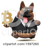 Clipart Of A 3d Business German Shepherd Dog Holding A Bitcoin Symbol On A White Background Royalty Free Illustration by Julos