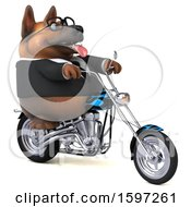 Clipart Of A 3d Business German Shepherd Dog Biker Riding A Chopper Motorcycle On A White Background Royalty Free Illustration by Julos