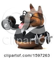 Clipart Of A 3d Business German Shepherd Dog Working Out With Dumbbells On A White Background Royalty Free Illustration by Julos