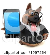 Clipart Of A 3d Business German Shepherd Dog Holding A Smart Phone On A White Background Royalty Free Illustration by Julos