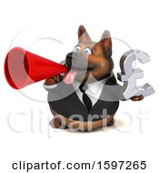 Clipart Of A 3d Business German Shepherd Dog Holding A Pound Currency Symbol On A White Background Royalty Free Illustration by Julos