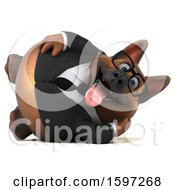 Clipart Of A 3d Business German Shepherd Dog Resting On A White Background Royalty Free Illustration by Julos
