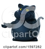 Clipart Of A 3d Black Kitty Cat Presenting On A White Background Royalty Free Illustration by Julos