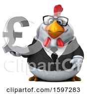 Poster, Art Print Of 3d White Business Chicken Holding A Pound Currency Symbol On A White Background
