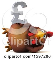Poster, Art Print Of 3d Chubby Brown Chicken Holding A Pound Currency Symbol On A White Background