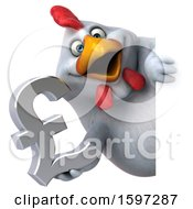 Poster, Art Print Of 3d White Chicken Holding A Pound Currency Symbol On A White Background