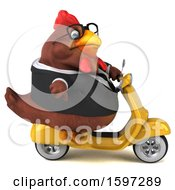 Poster, Art Print Of 3d Chubby Brown Business Chicken Riding A Scooter On A White Background