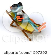 3d Blue Frog Holding A Beer Poolside On A White Background