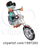 3d Blue Frog Biker Riding A Chopper Motorcycle On A White Background