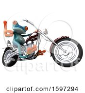 Clipart Of A 3d Blue Frog Biker Riding A Chopper Motorcycle On A White Background Royalty Free Illustration