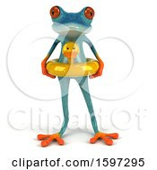 3d Blue Frog Wearing An Inner Tube On A White Background