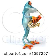 3d Blue Frog Playing A Saxophone On A White Background