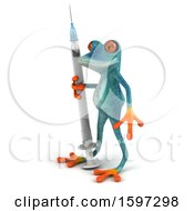 3d Blue Frog Holding A Syringe On A White Background