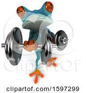 3d Blue Frog Working Out With Dumbbells On A White Background