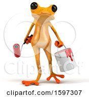 Poster, Art Print Of 3d Yellow Frog Painter On A White Background