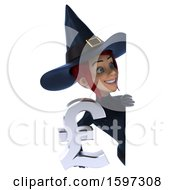 Clipart Of A 3d Sexy Blue Witch Holding A Pound Currency Symbol On A White Background Royalty Free Illustration