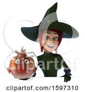 Clipart Of A 3d Sexy Green Witch Holding A Fish Bowl On A White Background Royalty Free Illustration by Julos