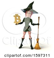 Clipart Of A 3d Sexy Green Witch Holding A Bitcoin Symbol On A White Background Royalty Free Illustration