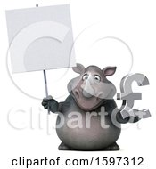 Clipart Of A 3d Rhinoceros Holding A Pound Currency Symbol On A White Background Royalty Free Illustration by Julos