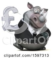 Clipart Of A 3d Business Rhinoceros Holding A Pound Currency Symbol On A White Background Royalty Free Illustration by Julos