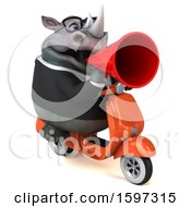 Clipart Of A 3d Business Rhinoceros Riding A Scooter On A White Background Royalty Free Illustration