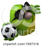 Clipart Of A 3d Green Bird Holding A Soccer Ball On A White Background Royalty Free Illustration by Julos