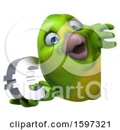 Clipart Of A 3d Green Bird Holding A Euro Currency Symbol On A White Background Royalty Free Illustration by Julos