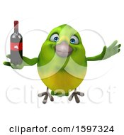 Clipart Of A 3d Green Bird Holding Wine On A White Background Royalty Free Illustration by Julos