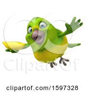 Clipart Of A 3d Green Bird Holding A Banana On A White Background Royalty Free Illustration by Julos