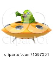 Clipart Of A 3d Green Bird Flying A Ufo On A White Background Royalty Free Illustration by Julos