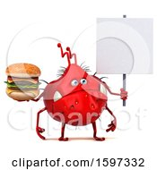 Clipart Of A 3d Red Germ Monster Holding A Burger On A White Background Royalty Free Illustration