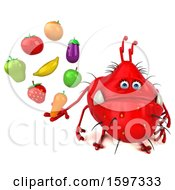 Clipart Of A 3d Red Germ Monster Holding Produce On A White Background Royalty Free Illustration