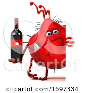 Poster, Art Print Of 3d Red Germ Monster Holding Wine On A White Background