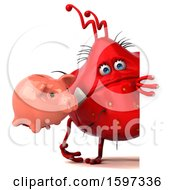 Poster, Art Print Of 3d Red Germ Monster Holding A Piggy Bank On A White Background