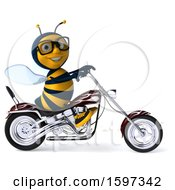 Clipart Of A 3d Male Bee Biker Riding A Chopper Motorcycle On A White Background Royalty Free Illustration