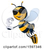 Clipart Of A 3d Male Bee Holding A Pound Currency Symbol On A White Background Royalty Free Illustration