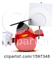 Clipart Of A 3d Red Bird Graduate Holding A Tooth On A White Background Royalty Free Illustration