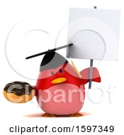 Clipart Of A 3d Red Bird Graduate Holding A Donut On A White Background Royalty Free Illustration