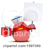 Clipart Of A 3d Chubby Red Bird Sailor Holding A Gift On A White Background Royalty Free Illustration
