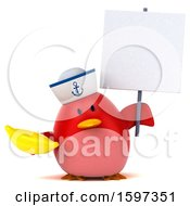 Clipart Of A 3d Chubby Red Bird Sailor Holding A Banana On A White Background Royalty Free Illustration