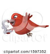 Clipart Of A 3d Red Bird Holding A Lira Symbol On A White Background Royalty Free Illustration
