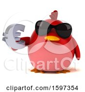 Clipart Of A 3d Red Bird Holding A Euro On A White Background Royalty Free Illustration