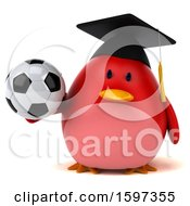 Clipart Of A 3d Red Bird Graduate Holding A Soccer Ball On A White Background Royalty Free Illustration