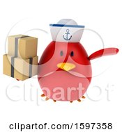 Clipart Of A 3d Chubby Red Bird Sailor Holding Boxes On A White Background Royalty Free Illustration
