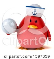 3d Chubby Red Bird Sailor Holding A Golf Ball On A White Background